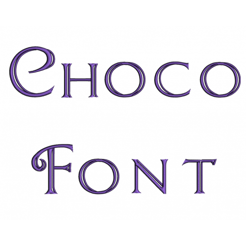 Choco Embroidery Font Digitized Lower and Upper Case 1 2 3 inch Instant Download