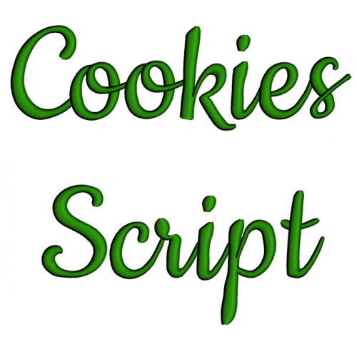 Cookies Embroidery Font Digitized Lower and Upper Case 1 2 3 inch Instant Download