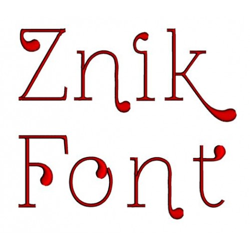 Znik Embroidery Font Digitized Lower and Upper Case 1 2 3 inch Instant Download
