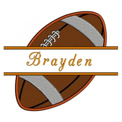 Football Split Filled In Digitized Machine Embroidery Design Pattern