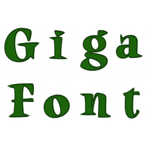 Giga Filled Embroidery Font Digitized Lower and Upper Case 1 2 3 inch Instant Download