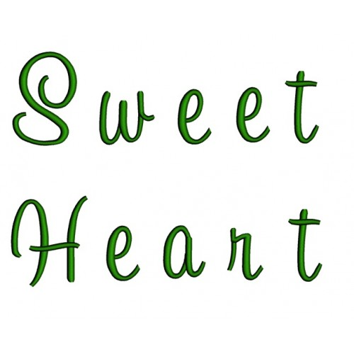 Sweetheart Embroidery Font Digitized Lower and Upper Case 1 2 3 inch Instant Download