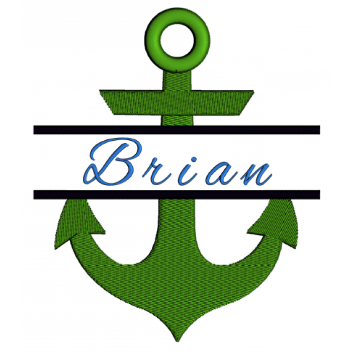 Anchor Split Filled In Digitized Machine Embroidery Design Pattern