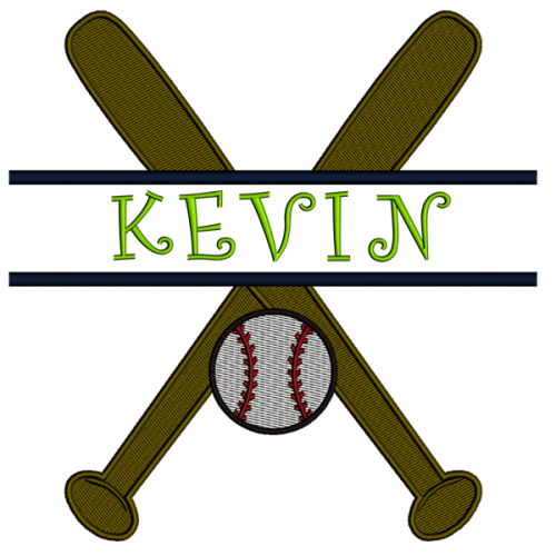 Baseball Bats and Ball Split Filled In Digitized Machine Embroidery Design Pattern