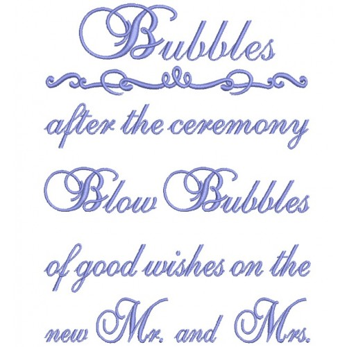 Bubbles after the ceremony Wedding Filled Machine Embroidery Design