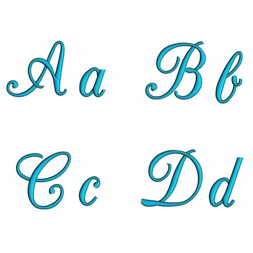 Champagne Machine Embroidery Satin Script Font Upper and Lower Case 1 2 3 inches