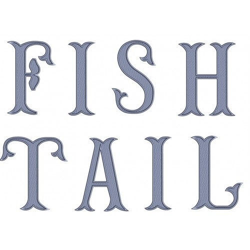 Large Fish Tail Monogram Font Satin Stitch Embroidery Upper Case Digitized -Instant Download 4 5 6 inch