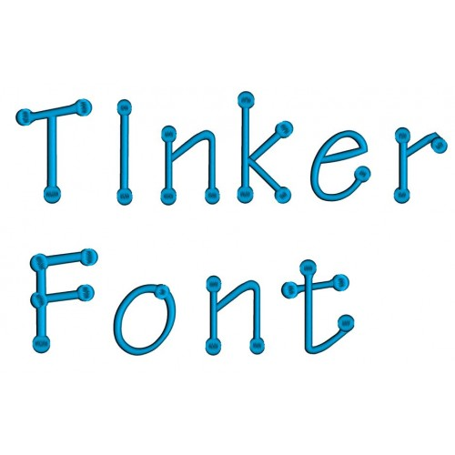 Tinker Embroidery Font Digitized Lower and Upper Case 1 2 3 inch -Instant Download