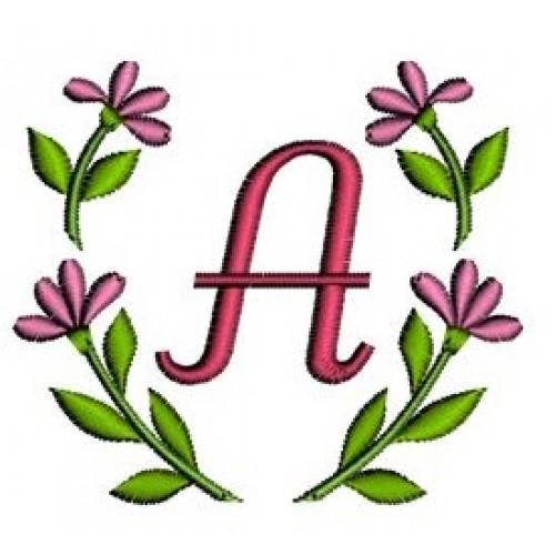 Flower Monogram Machine Embroidery Font